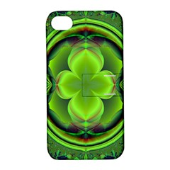 Green Clover Apple Iphone 4/4s Hardshell Case With Stand by Delasel