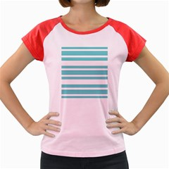 Teal Adn White Stripe Designs Women s Cap Sleeve T-shirt by timelessartoncanvas