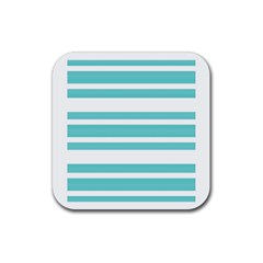 Teal Adn White Stripe Designs Rubber Coaster (square)  by timelessartoncanvas