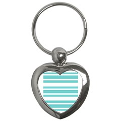 Teal Adn White Stripe Designs Key Chains (heart)  by timelessartoncanvas