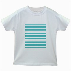 Teal Adn White Stripe Designs Kids White T Shirts by timelessartoncanvas