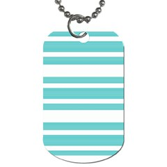 Teal Adn White Stripe Designs Dog Tag (one Side) by timelessartoncanvas