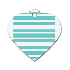 Teal Adn White Stripe Designs Dog Tag Heart (one Side) by timelessartoncanvas