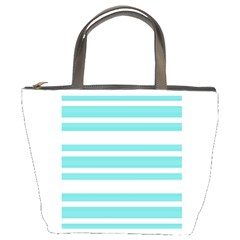 Teal Adn White Stripe Designs Bucket Bags by timelessartoncanvas
