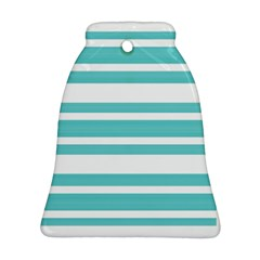 Teal Adn White Stripe Designs Bell Ornament (2 Sides) by timelessartoncanvas
