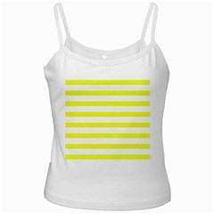 Bright Yellow And White Stripes White Spaghetti Tanks by timelessartoncanvas