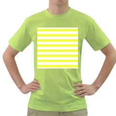 Bright Yellow And White Stripes Green T Shirt by timelessartoncanvas