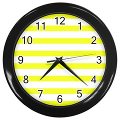 Bright Yellow And White Stripes Wall Clocks (black) by timelessartoncanvas