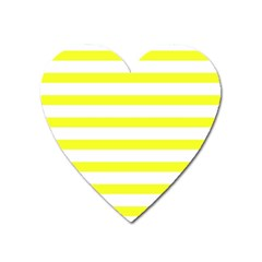Bright Yellow And White Stripes Heart Magnet by timelessartoncanvas
