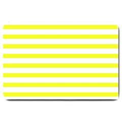 Bright Yellow And White Stripes Large Doormat  by timelessartoncanvas
