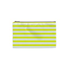 Bright Yellow And White Stripes Cosmetic Bag (small)  by timelessartoncanvas