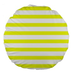 Bright Yellow And White Stripes Large 18  Premium Flano Round Cushions by timelessartoncanvas