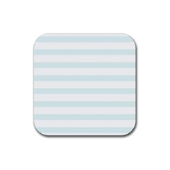 Baby Blue And White Stripes Rubber Square Coaster (4 Pack)  by timelessartoncanvas
