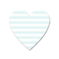 Baby Blue And White Stripes Heart Magnet by timelessartoncanvas