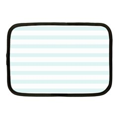 Baby Blue And White Stripes Netbook Case (medium)  by timelessartoncanvas