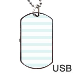 Baby Blue And White Stripes Dog Tag Usb Flash (two Sides)  by timelessartoncanvas