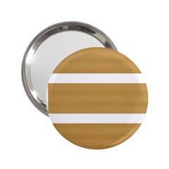 Beige/ Brown And White Stripes Design 2 25  Handbag Mirrors by timelessartoncanvas