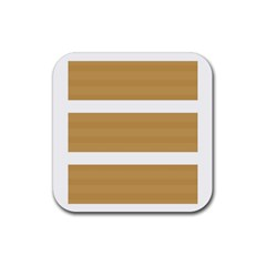 Beige/ Brown And White Stripes Design Rubber Coaster (square)  by timelessartoncanvas
