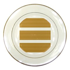 Beige/ Brown And White Stripes Design Porcelain Plates