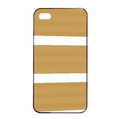 Beige/ Brown And White Stripes Design Apple Iphone 4/4s Seamless Case (black) by timelessartoncanvas