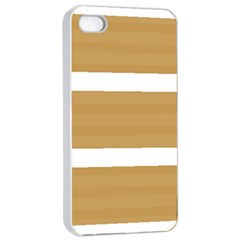 Beige/ Brown And White Stripes Design Apple Iphone 4/4s Seamless Case (white) by timelessartoncanvas