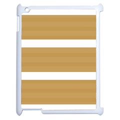 Beige/ Brown And White Stripes Design Apple Ipad 2 Case (white) by timelessartoncanvas
