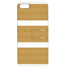 Beige/ Brown And White Stripes Design Apple Iphone 5 Hardshell Case With Stand by timelessartoncanvas