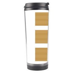 Beige/ Brown And White Stripes Design Travel Tumblers by timelessartoncanvas
