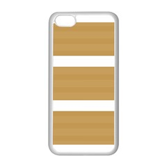 Beige/ Brown And White Stripes Design Apple Iphone 5c Seamless Case (white) by timelessartoncanvas