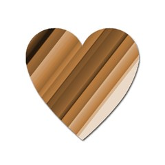 Metallic Brown/neige Stripes Heart Magnet by timelessartoncanvas