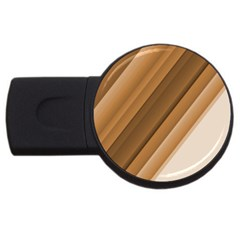 Metallic Brown/neige Stripes Usb Flash Drive Round (4 Gb)  by timelessartoncanvas