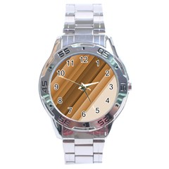 Metallic Brown/neige Stripes Stainless Steel Men s Watch by timelessartoncanvas