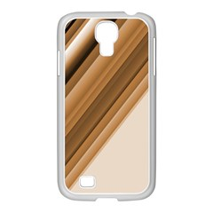 Metallic Brown/neige Stripes Samsung Galaxy S4 I9500/ I9505 Case (white) by timelessartoncanvas
