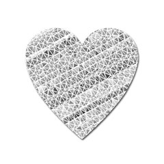 Silver Abstract And Stripes Heart Magnet by timelessartoncanvas