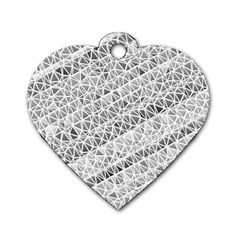 Silver Abstract And Stripes Dog Tag Heart (one Side) by timelessartoncanvas