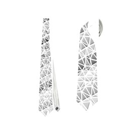 Silver Abstract And Stripes Neckties (one Side)