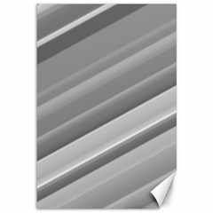 Elegant Silver Metallic Stripe Design Canvas 12  X 18   by timelessartoncanvas