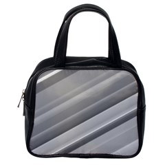 Elegant Silver Metallic Stripe Design Classic Handbags (one Side) by timelessartoncanvas