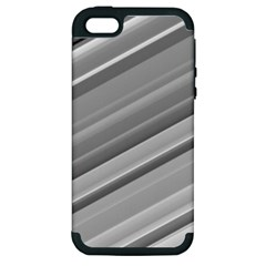 Elegant Silver Metallic Stripe Design Apple Iphone 5 Hardshell Case (pc+silicone) by timelessartoncanvas