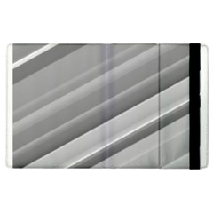 Elegant Silver Metallic Stripe Design Apple Ipad 3/4 Flip Case by timelessartoncanvas