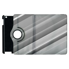 Elegant Silver Metallic Stripe Design Apple Ipad 3/4 Flip 360 Case by timelessartoncanvas