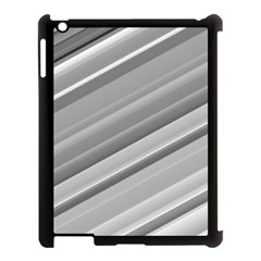 Elegant Silver Metallic Stripe Design Apple Ipad 3/4 Case (black) by timelessartoncanvas