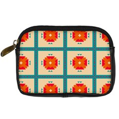 Shapes In Squares Pattern 	digital Camera Leather Case by LalyLauraFLM