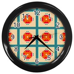 Shapes In Squares Pattern 			wall Clock (black) by LalyLauraFLM