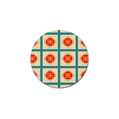 Shapes In Squares Pattern 			golf Ball Marker (4 Pack) by LalyLauraFLM