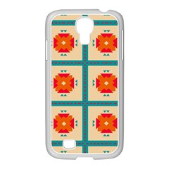 Shapes In Squares Pattern 			samsung Galaxy S4 I9500/ I9505 Case (white) by LalyLauraFLM