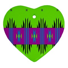 Tribal Shapes On A Green Background 			ornament (heart) by LalyLauraFLM