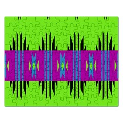 Tribal Shapes On A Green Background 			jigsaw Puzzle (rectangular) by LalyLauraFLM