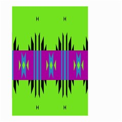 Tribal Shapes On A Green Background Small Garden Flag by LalyLauraFLM