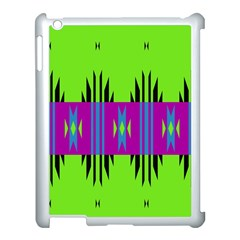 Tribal Shapes On A Green Background 			apple Ipad 3/4 Case (white) by LalyLauraFLM